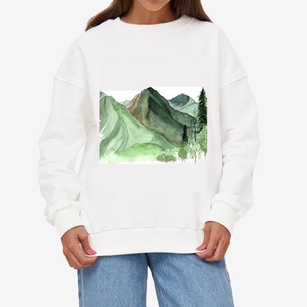 Свитшот «Горы. Акварельный скетч. Сочи.»