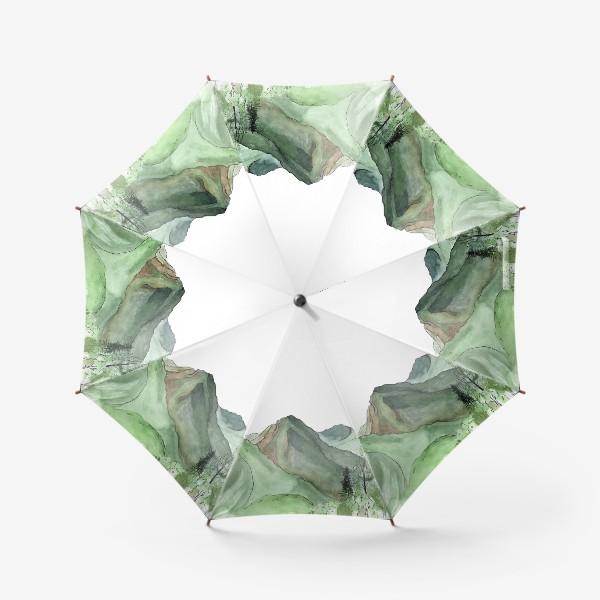 Зонт «Горы. Акварельный скетч. Сочи.»