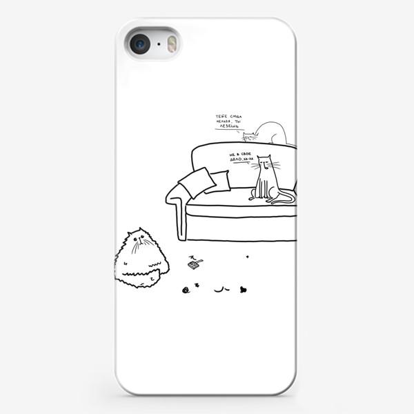 Чехол iPhone «Коты шутят. Недобрый юмор. Кот лезет »