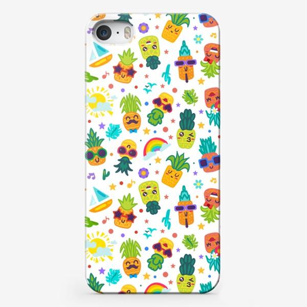Чехол iPhone «Веселые ананасы на вечеринке»