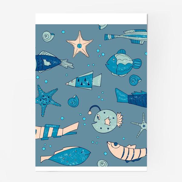 Постер «рыбы, морской узор»