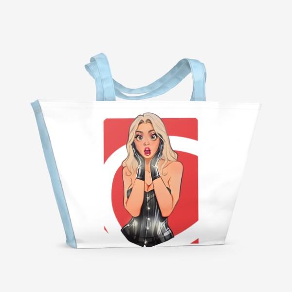 Пляжная сумка «В ШОКЕ! Девушка сэкси / чёрный корсет / комикс»
