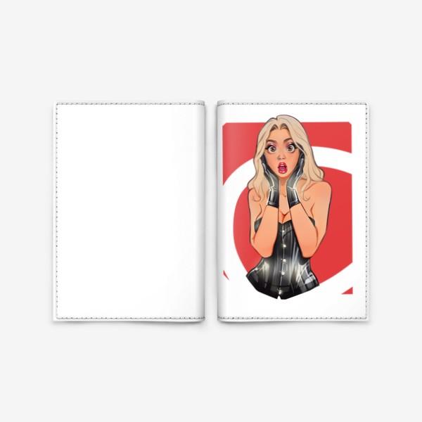 Обложка для паспорта «В ШОКЕ! Девушка сэкси / чёрный корсет / комикс»