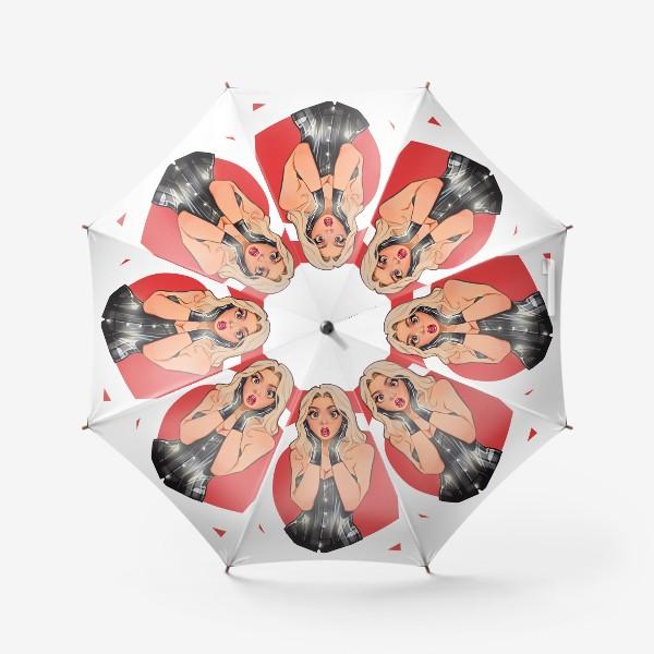 Зонт «В ШОКЕ! Девушка сэкси / чёрный корсет / комикс»