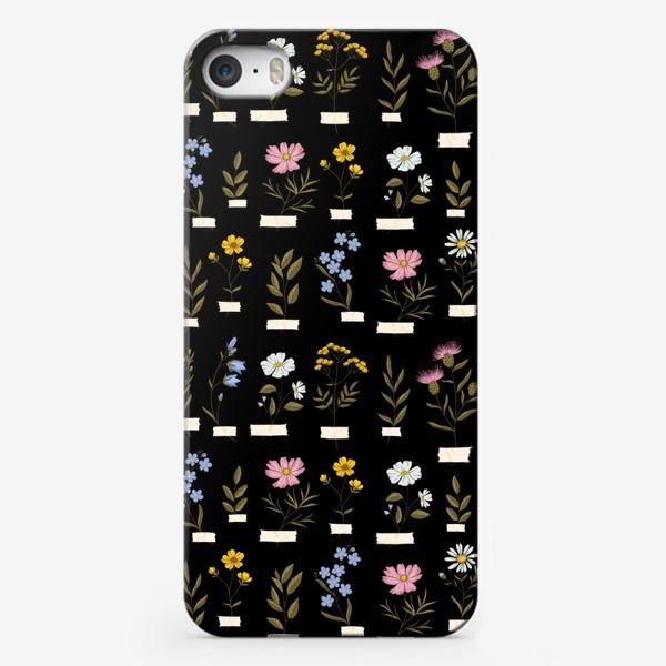 Чехол iPhone «Полевые цветы на черном»