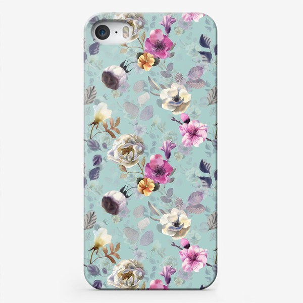 Чехол iPhone «White flowers. Turquoise»