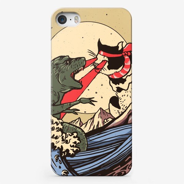 Чехол iPhone «Гигантский котёнок против Годзиллы в стиле Укиё-э»