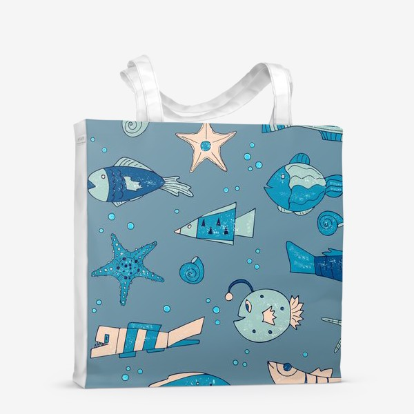Сумка-шоппер «рыбы, морской узор»