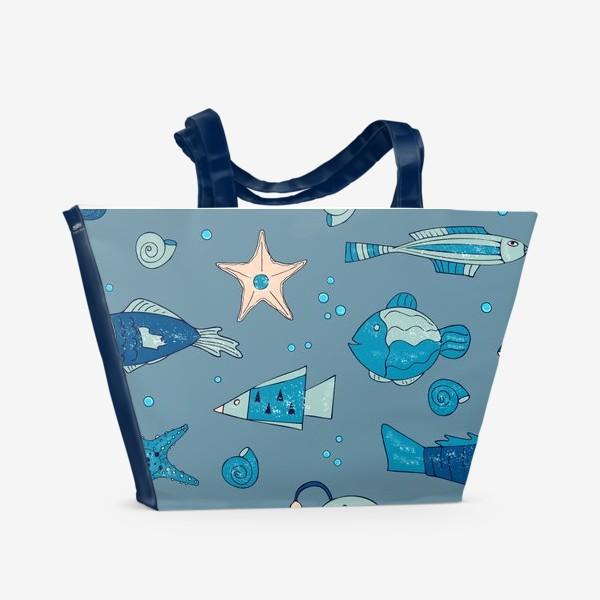 Пляжная сумка «рыбы, морской узор»