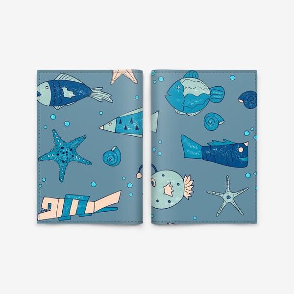 Обложка для паспорта «рыбы, морской узор»