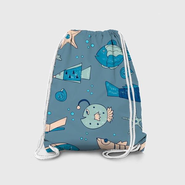 Рюкзак «рыбы, морской узор»