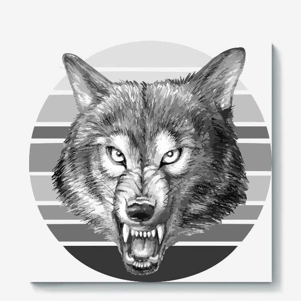 Холст «реалистичная  иллюстрация волка, мужской принт»