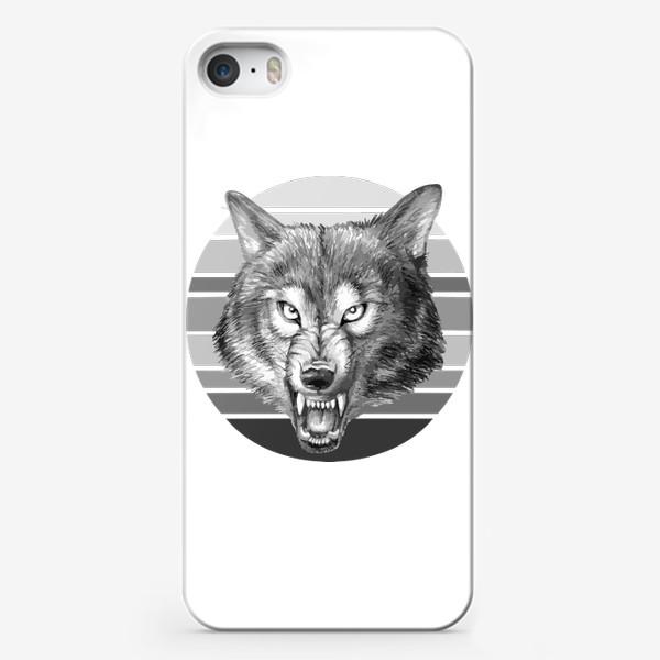 Чехол iPhone «реалистичная  иллюстрация волка, мужской принт»