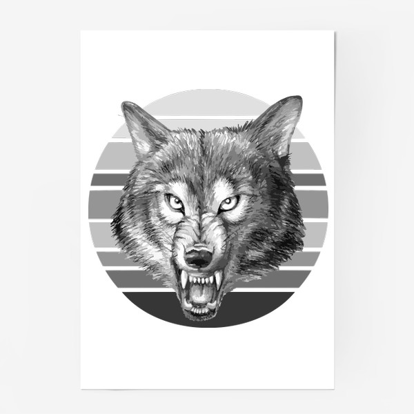 Постер «реалистичная  иллюстрация волка, мужской принт»