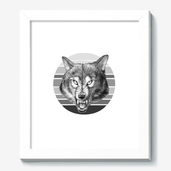 Картина «реалистичная  иллюстрация волка, мужской принт»