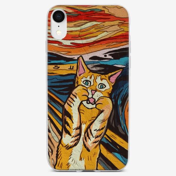 Чехол iPhone «Крик полосатого кота - пародия на Мунка»