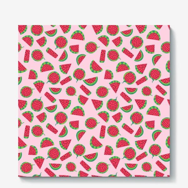 Холст «Сочные ломтика арбуза на розовом легкий летний паттерн»