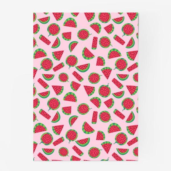 Постер «Сочные ломтика арбуза на розовом легкий летний паттерн»