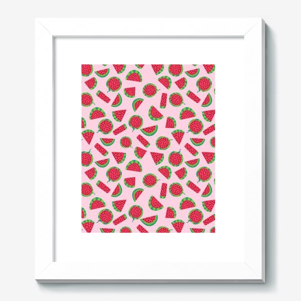 Картина «Сочные ломтика арбуза на розовом легкий летний паттерн»