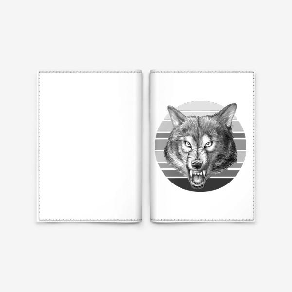 Обложка для паспорта «реалистичная  иллюстрация волка, мужской принт»