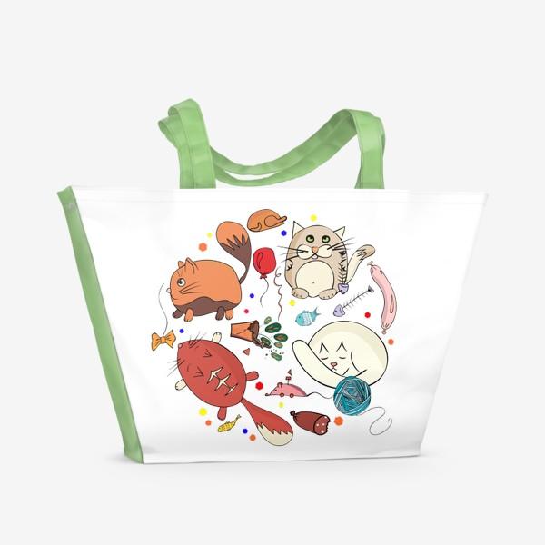 Пляжная сумка «смешные котики»