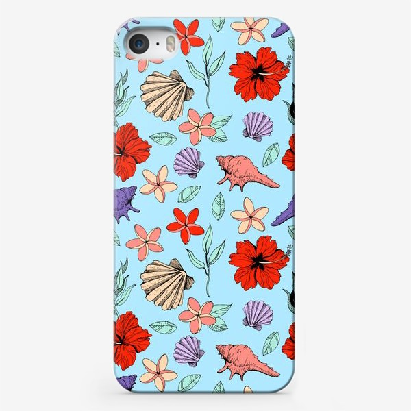 Чехол iPhone «Летний паттерн. Цветы и ракушки на голубом фоне»