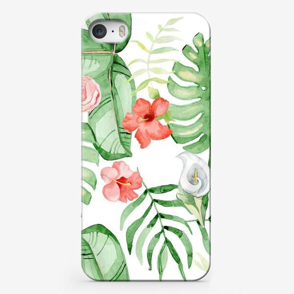 Чехол iPhone «Тропики, гибискус и каллы»