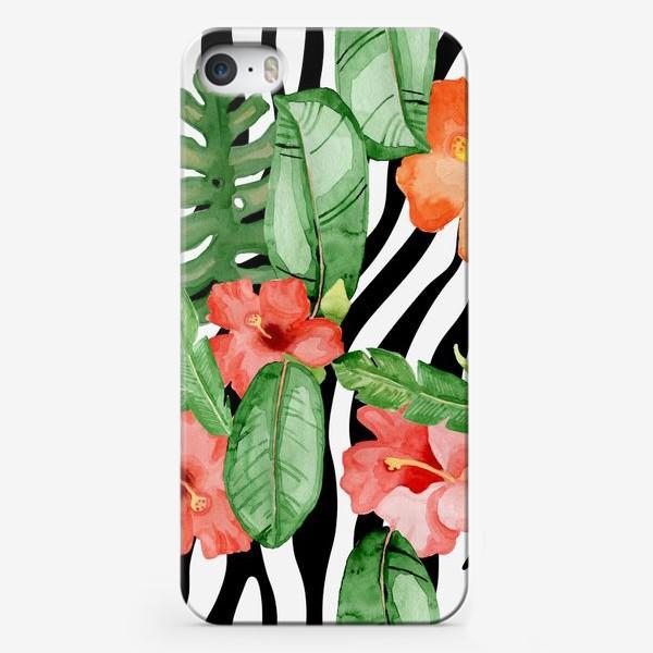 Чехол iPhone «Зебра и гибискус»