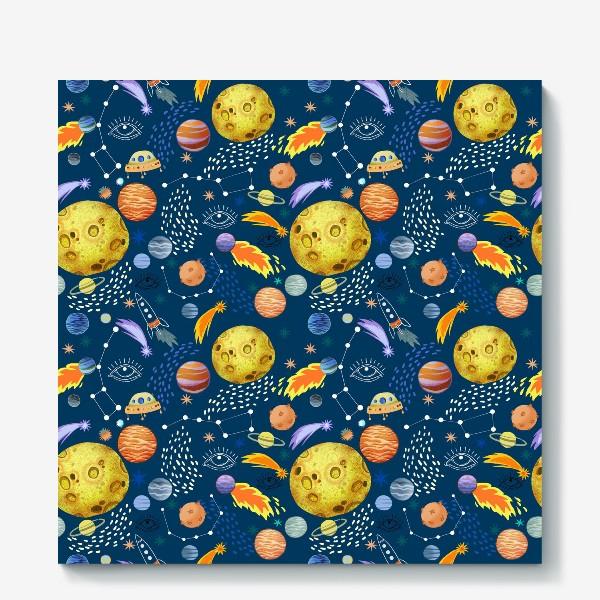Холст «Космическая одиссея. Космос, планеты, космические корабли, созвездия, символ глаза»