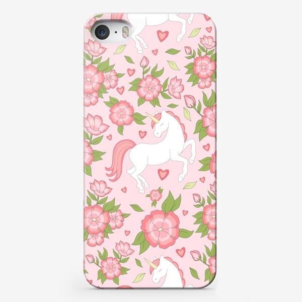 Чехол iPhone «Цветочный узор с единорогами»