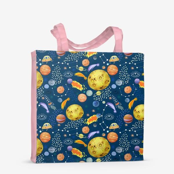Сумка-шоппер «Космическая одиссея. Космос, планеты, космические корабли, созвездия, символ глаза»