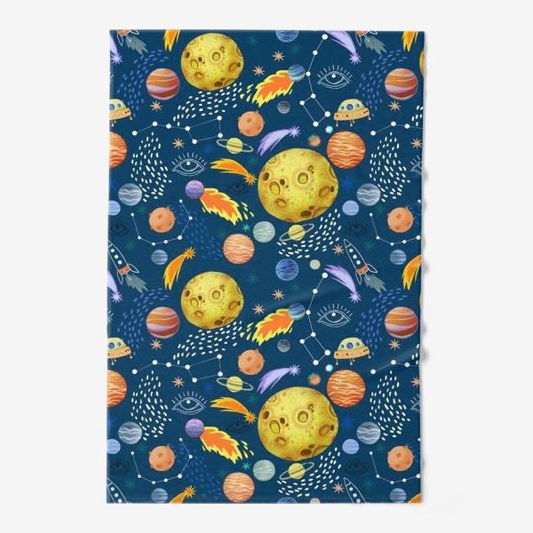 Полотенце «Космическая одиссея. Космос, планеты, космические корабли, созвездия, символ глаза»