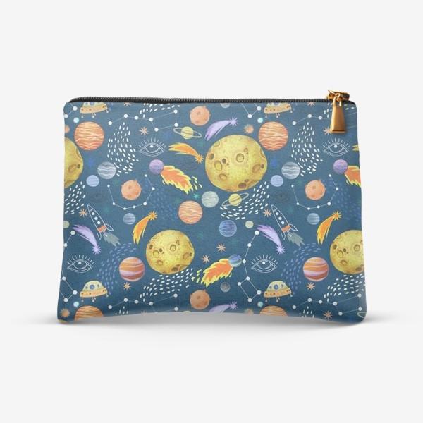 Косметичка «Космическая одиссея. Космос, планеты, космические корабли, созвездия, символ глаза»