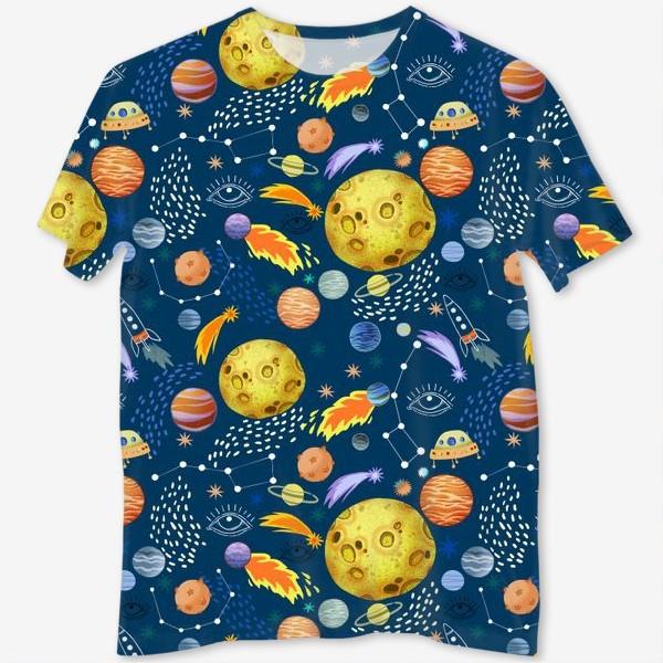 Футболка с полной запечаткой «Космическая одиссея. Космос, планеты, космические корабли, созвездия, символ глаза»