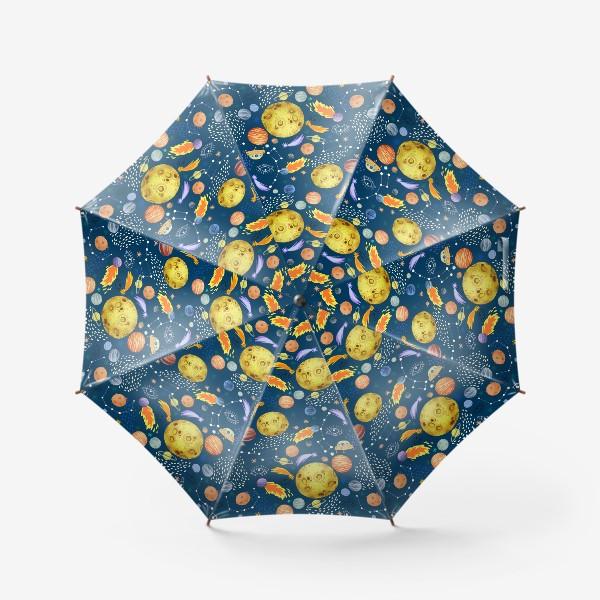 Зонт «Космическая одиссея. Космос, планеты, космические корабли, созвездия, символ глаза»