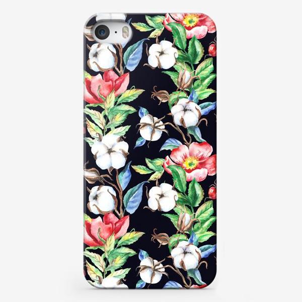 Чехол iPhone «Шиповник и хлопок на черном»