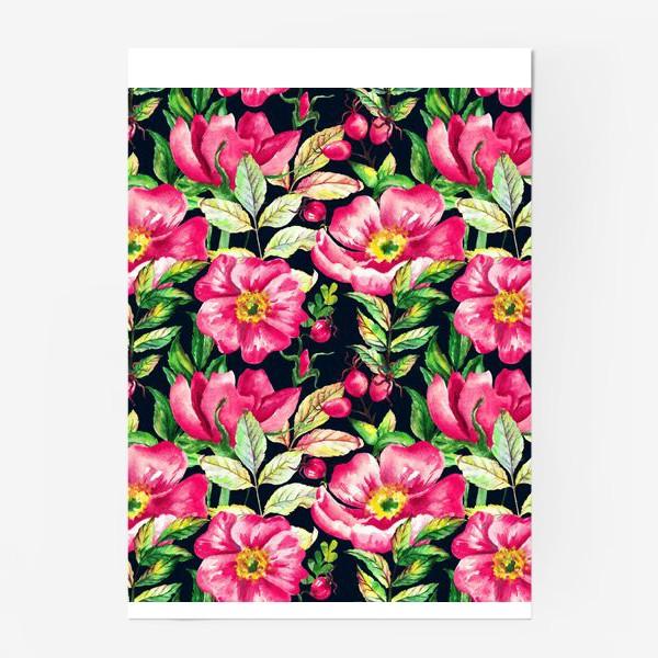 Постер «Розовый шиповник и ягоды  на черном»