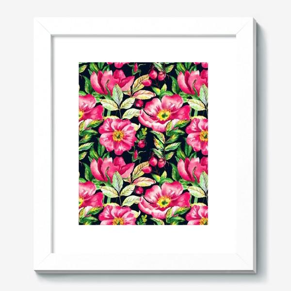 Картина «Розовый шиповник и ягоды  на черном»