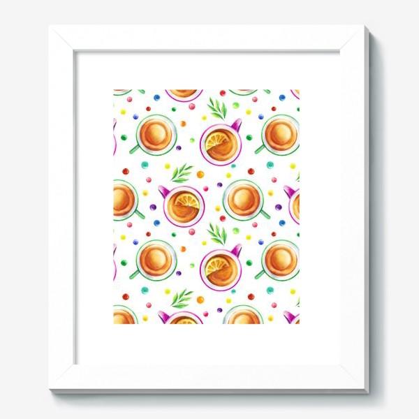 Картина «Чай с лимоном и цветным драже на белом»
