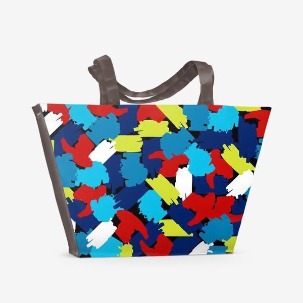 Пляжная сумка «цветные мазки краски, заплатки»