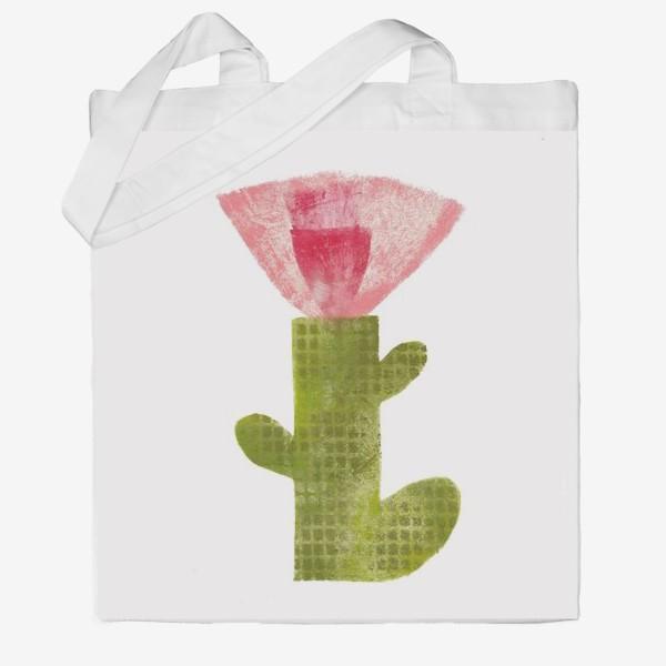 Сумка хб «Тропический цветок, ручная печать, крупно (розовый)»