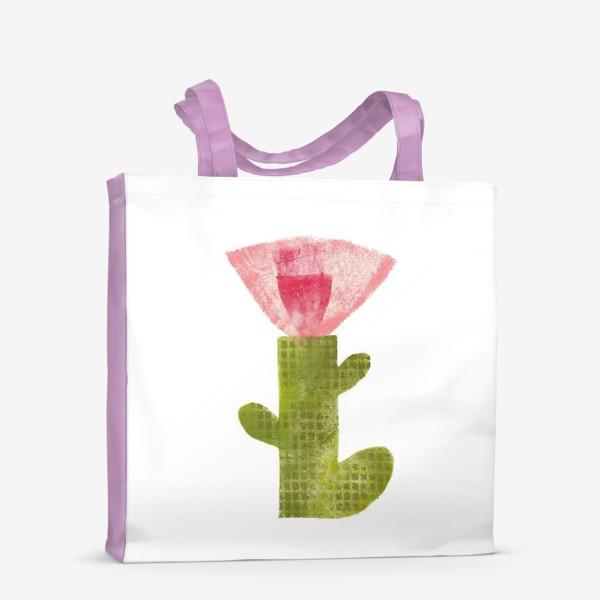 Сумка-шоппер «Тропический цветок, ручная печать, крупно (розовый)»