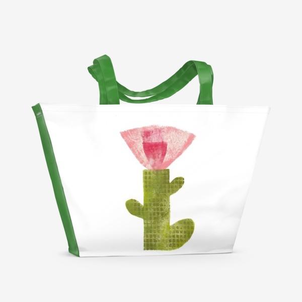 Пляжная сумка «Тропический цветок, ручная печать, крупно (розовый)»