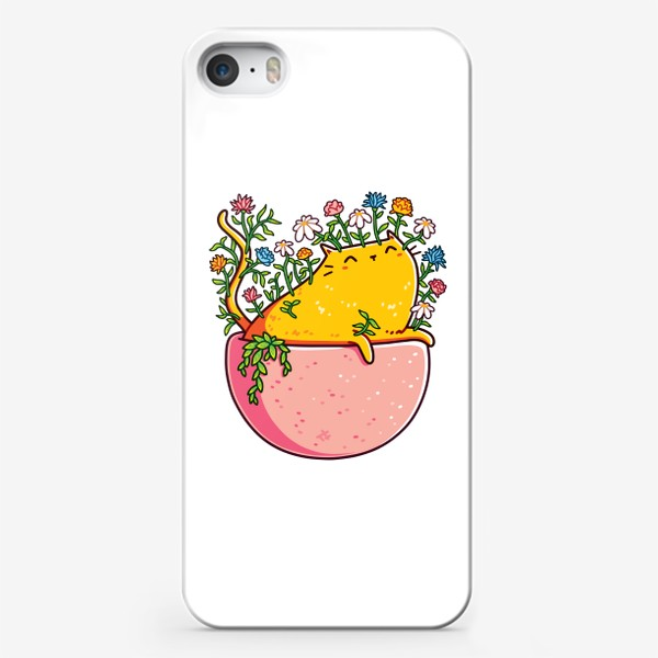 Чехол iPhone «Кошка в Цветочном Горшке»