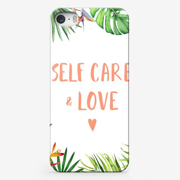Чехол iPhone «Любовь и забота: self care & love. Тропический принт»