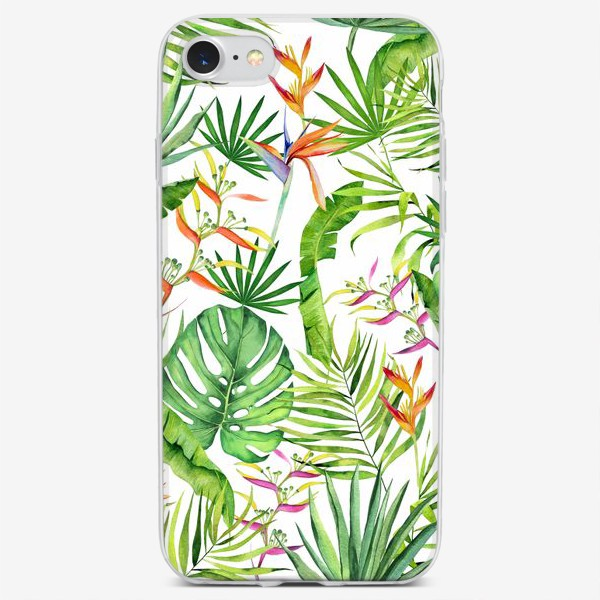 Чехол iPhone «Тропики на белом. Монстера, геликония, пальма, экзотика»