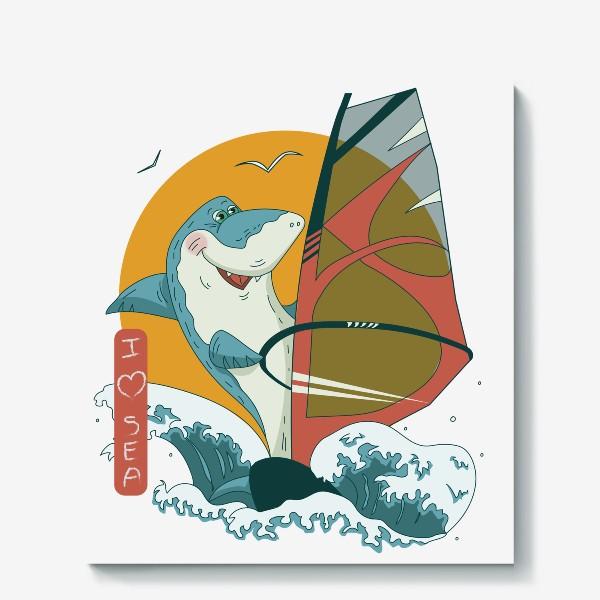 Холст «Акула, море и виндсерфинг»