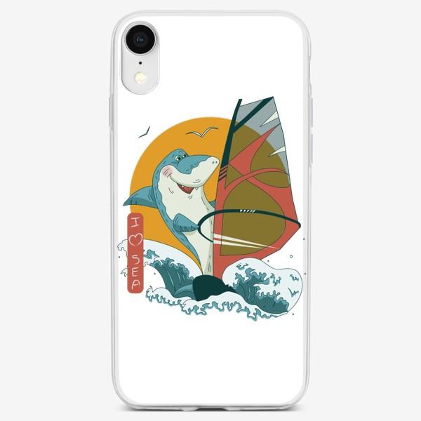 Чехол iPhone «Акула, море и виндсерфинг»