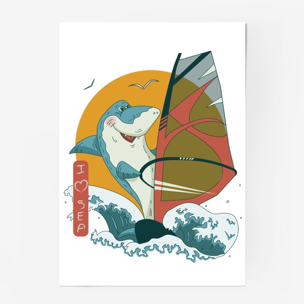 Постер «Акула, море и виндсерфинг»