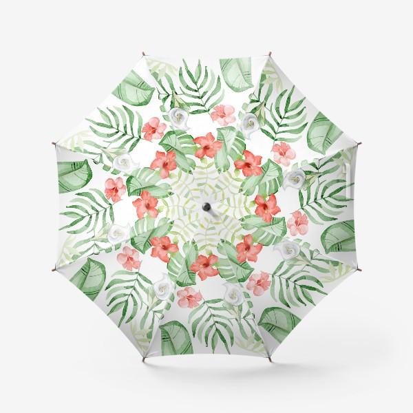 Зонт «Тропики, гибискус и каллы»